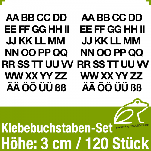 Klebebuchstaben-Set H.3cm 120Stück