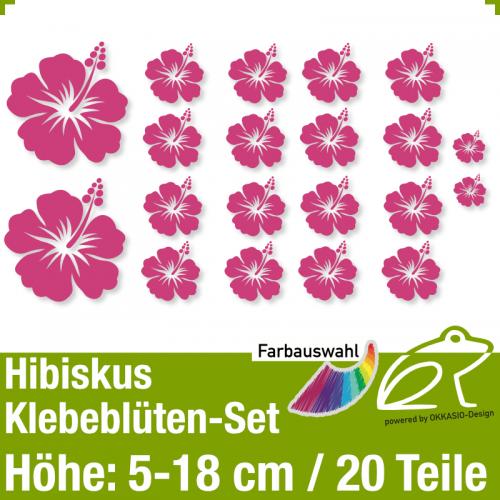Hibiskus Klebeblüten Set 1 / 5-18cm / 20 Teile