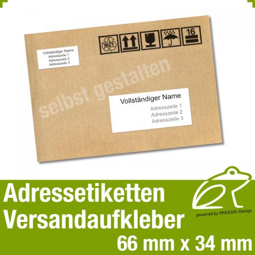 Versandaufkleber Etiketten - 66 x 34 mm