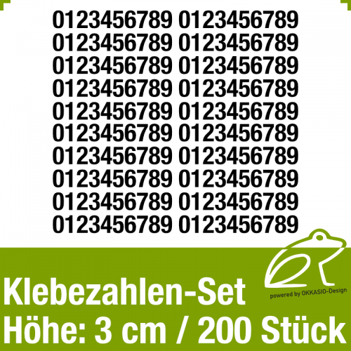 Klebezahlen-Set H.3cm 200Stück