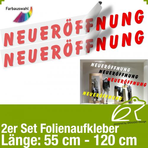 Aufkleber NEUERÖFFNUNG 2er-Set / 55 bis 120 cm
