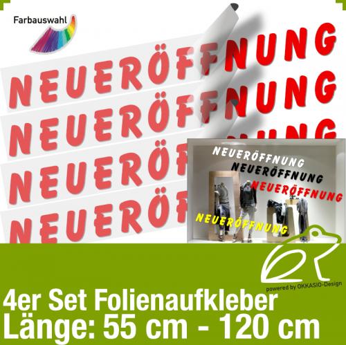 Aufkleber NEUERÖFFNUNG 4er-Set / 55 bis 120 cm