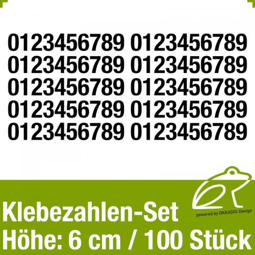 Klebezahlen-Set H.6cm 100Stück