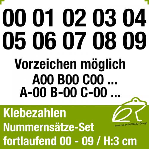Klebezahlen fortlaufend 00-09 / Höhe 30mm