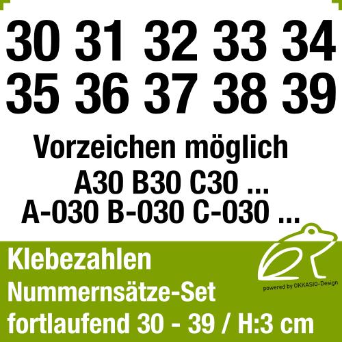 Klebezahlen fortlaufend 30-39 / Höhe 30mm