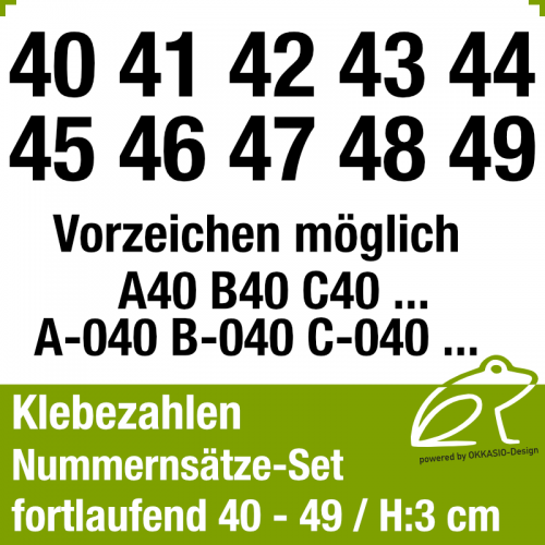 Klebezahlen fortlaufend 40-49 / Höhe 30mm
