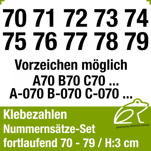 Klebezahlen fortlaufend 70-79 / Höhe 30mm