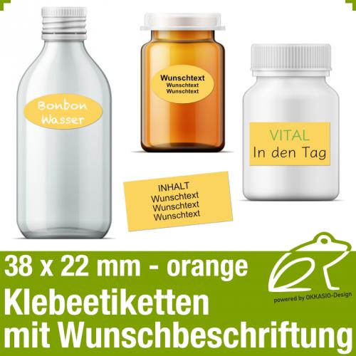 Klebeetiketten orange - 38 x 22 mm