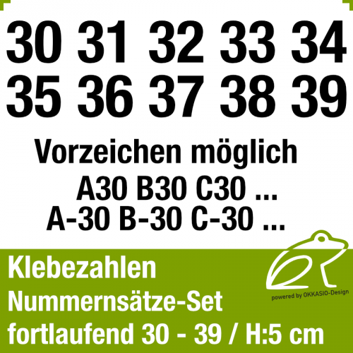 Klebezahlen fortlaufend 30-39 / Höhe 50mm