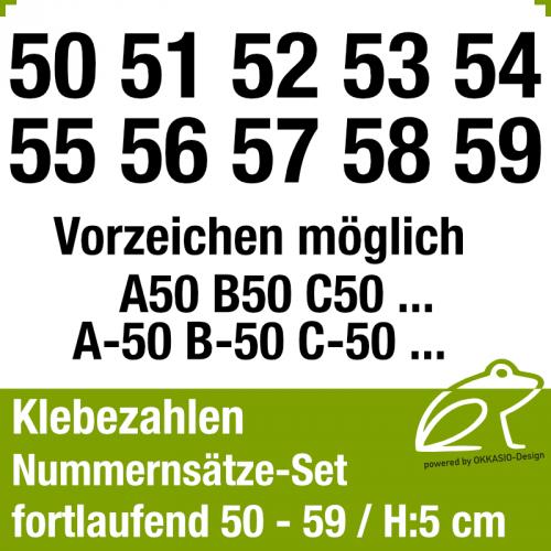 Klebezahlen fortlaufend 50-59 / Höhe 50mm
