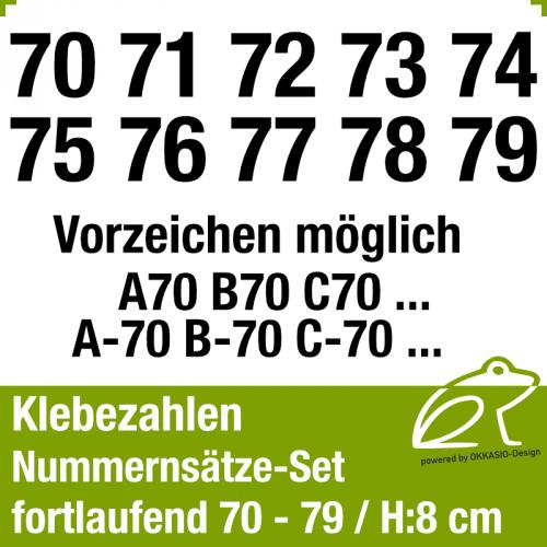 Klebezahlen fortlaufend 70-79 / Höhe 80mm