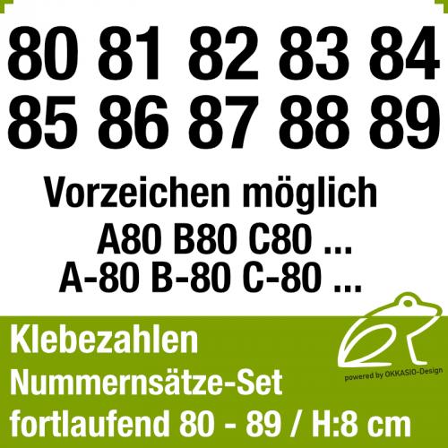 Klebezahlen fortlaufend 80-89 / Höhe 80mm