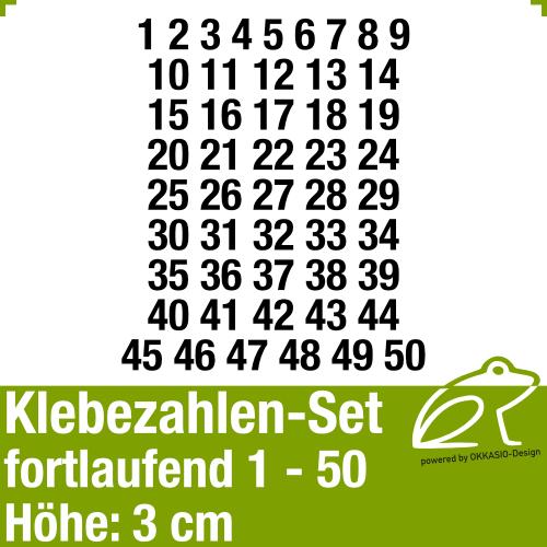 Klebezahlen-Set fortlaufend 1-50 H.3cm