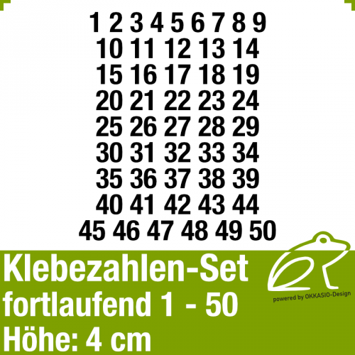 Klebezahlen-Set fortlaufend 1-50 H.4cm