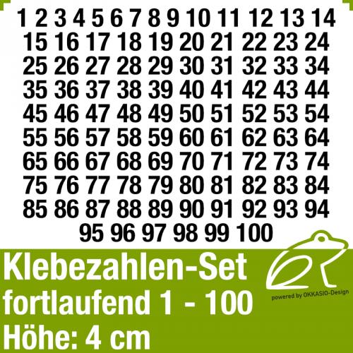 Klebezahlen-Set fortlaufend 1-100 H.4cm