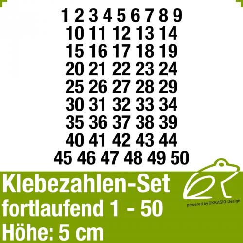 Klebezahlen-Set fortlaufend 1-50 H.5cm