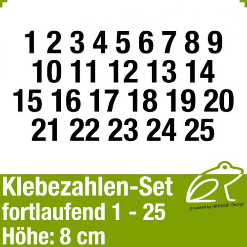 Klebezahlen-Set fortlaufend 1-25 H.8cm