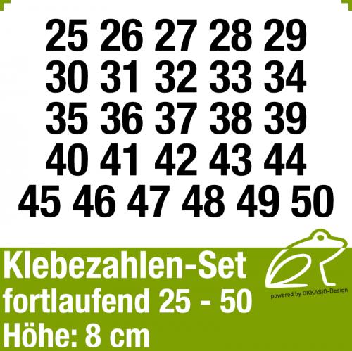 Klebezahlen-Set fortlaufend 25-50 H.8cm