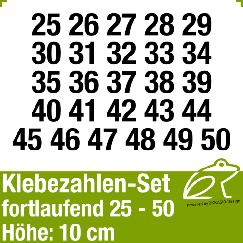 Klebezahlen-Set fortlaufend 25-50 H.10cm