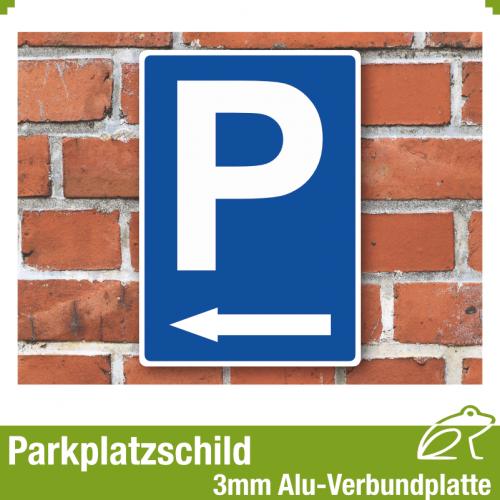 Parkplatzschild mit Pfeil links