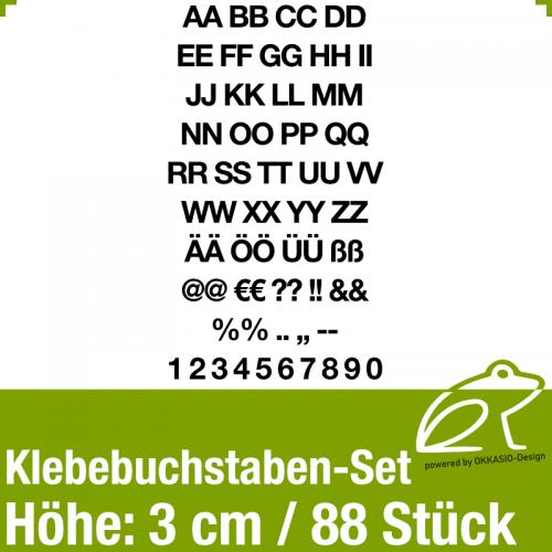Klebebuchstaben-Set H.3cm 88Stück