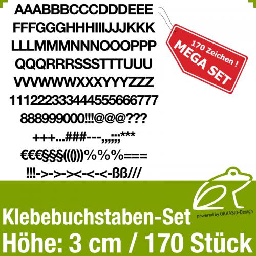 Klebebuchstaben-Set H.3cm 170Stück