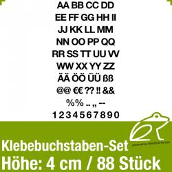 Klebebuchstaben-Set H.4cm 88Stück