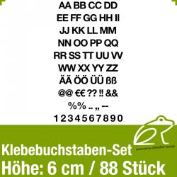 Klebebuchstaben-Set H.6cm 88Stück