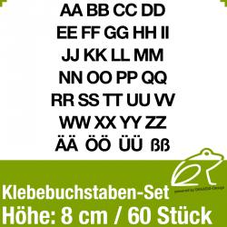 Klebebuchstaben-Set H.8cm 60Stück