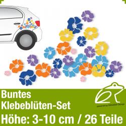 Buntes Klebeblüten-Set / 3-10cm / 26 Teile