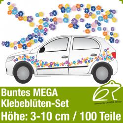 Buntes Klebeblüten MEGA-Set / 3-10cm / 100 Teile