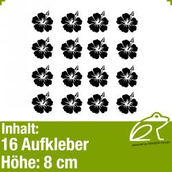 Hibiskus Klebeblüten Set 2 / 8cm / 16 Teile