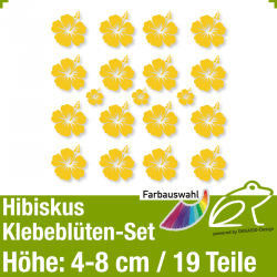 Hibiskus Klebeblüten Set 3 / 4-8cm / 19 Teile