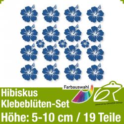 Hibiskus Klebeblüten Set 4 / 5-10cm / 19 Teile