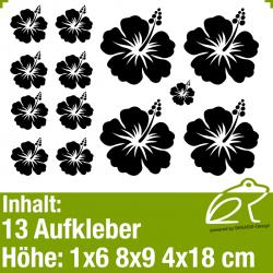 Hibiskus Klebeblüten Set 5 / 6-18cm / 13 Teile