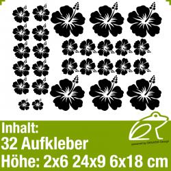 Hibiskus Klebeblüten Set 6 / 6-18cm / 32 Teile