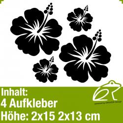Hibiskus Klebeblüten Set 7 / 15-30cm / 4 Teile