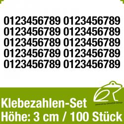 Klebezahlen-Set H.3cm 100Stück