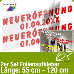 Aufkleber NEUERÖFFNUNG 2er-Set mit Datumsangabe / 55 bis 120 cm