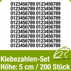 Klebezahlen-Set H.5cm 200Stück