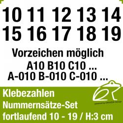 Klebezahlen fortlaufend 10-19 / Höhe 30mm