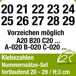 Klebezahlen fortlaufend 20-29 / Höhe 30mm