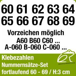 Klebezahlen fortlaufend 60-69 / Höhe 30mm
