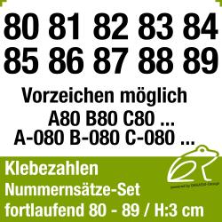 Klebezahlen fortlaufend 80-89 / Höhe 30mm