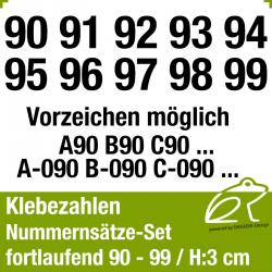 Klebezahlen fortlaufend 90-99 / Höhe 30mm