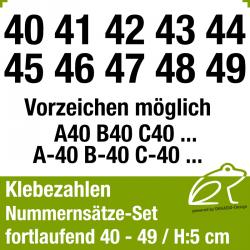 Klebezahlen fortlaufend 40-49 / Höhe 50mm
