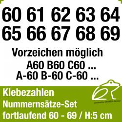 Klebezahlen fortlaufend 60-69 / Höhe 50mm