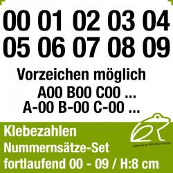 Klebezahlen fortlaufend 00-09 / Höhe 80mm