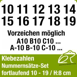 Klebezahlen fortlaufend 10-19 / Höhe 80mm