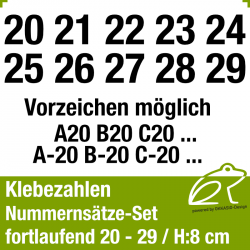Klebezahlen fortlaufend 20-29 / Höhe 80mm